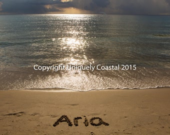 Name in Sand, Baby Girl Gift, Personalized Artwork, Beach, Nursery Decor - Aria