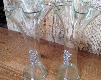 Pair of green glass vases with pewter rose design