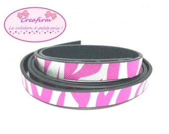1 m leather flat striped pink Silver clear 12mm