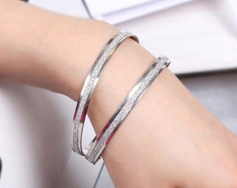 Double SilverFrosted Bangle Bracelets