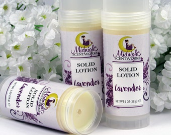 Solid Lotion Bar - Lavender Solid Lotion in Tube - Vegan Solid Lotion - Natural Lotion - Gifts for Her - Under 10 - Lavendar