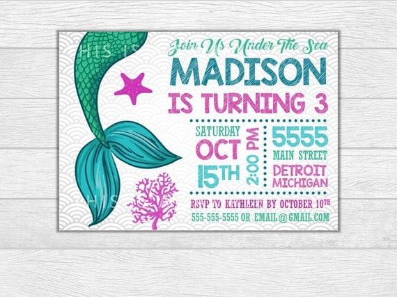 Mermaid invitation, mermaid birthday, mermaid invite, birthday invitation, birthday invite, printable invitation, digital download
