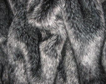 """Luxurious SILVER FOX faux fur fabric Sample Swatch, very soft, 8"""" X 10"""" piece"""