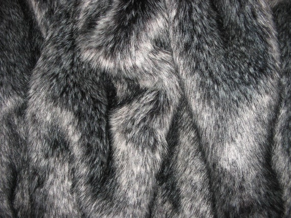 Luxurious SILVER FOX Faux Fur Fabric Sample Swatch Very Soft