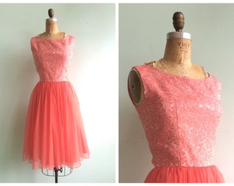 Vintage 1950's Brocade Rose Party Dress | Size Small