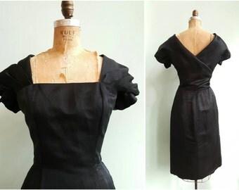 Vintage 1950s Suzy Perette Black Silk Dress | Size Medium