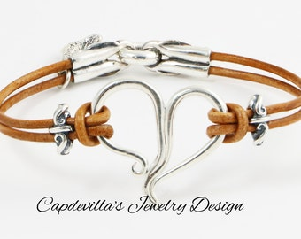 Sterling Silver with Genuine Leather Bracelet