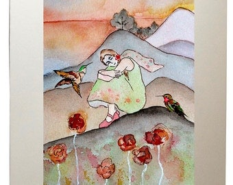 Girl with Hummingbirds Watercolor Painting Wall Art Prints from Original Artwork, Matted to 11x14