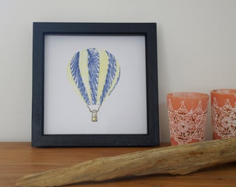 Stitched Art Hot Air Balloon with box frame