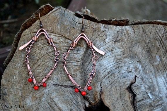 Copper wire earrings Wire wrapped earrings Wire wrapped jewelry Copper jewelry African earrings African copper earrings African jewelry OOAK
