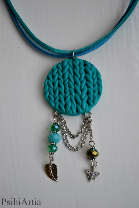 Turquoise necklace handmade Summer necklace Boho necklace Boho pendant Polymer clay necklace Knitted pendant Polymer clay knitted Turquoise