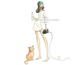 Holly Golightly + Cat fashion illustration art print, Holly Golightly (Breakfast at Tiffany's, Holly Golightly, Audrey Hepburn) art print