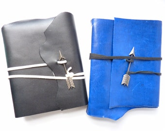 SALE! Medium Leather Journal With White Pages and Arrow Closure