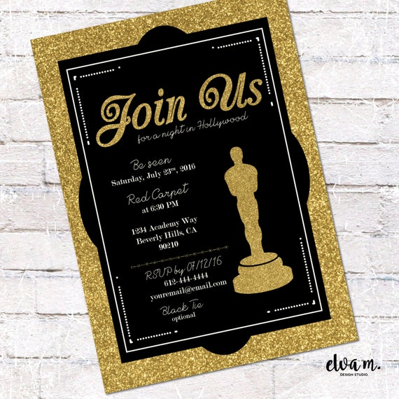 Hollywood Oscar Party Invitation Academy Awards Invite