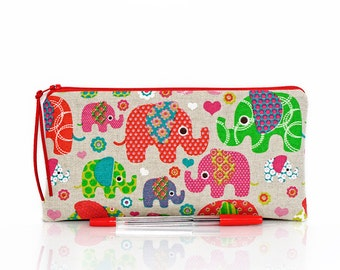 Elephant pencil case, Kids pouch, School supplies, Make Up bag, Cosmetic case, Animal pouch, Linen pen bag, Small pouch, Teacher gift,
