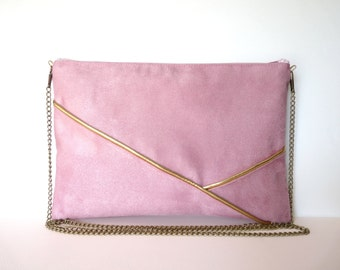 Pouch, shoulder bag pink and gold graphics