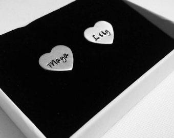 Stamped heart earrings