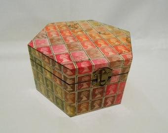 Real British Postage Stamp Decoupage hexagonal Wooden Box rainbow colour
