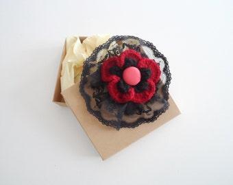 Crochet Flower Brooch. Flower Pin Brooch. Crochet Pin Flower. Wool Flower Pin. Wool Brooch Pin. Coat Pin Flower.
