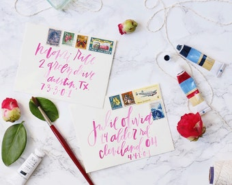 Brush Calligraphy Wedding Envelopes // Hand Lettered with Brush Calligraphy