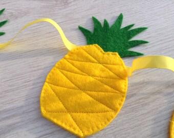 Pineapple Bunting, Tropical Wedding, Summer Kitsch, Garden Party BBQ Banner, Luau Garland, Holiday Decor, Nursery Pennant, Kitchen Decor