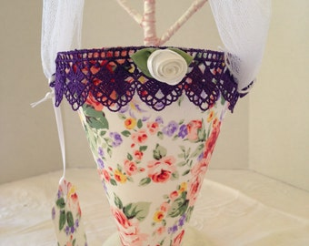 Mother's Day Gift, May Day, or any Occasion Fabric Cone - Circle of Roses