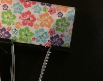 Set of three large hibiscus design binder clips