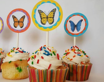 8 Butterfly Themed cupcake toppers.