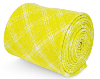 Frederick Thomas 100% cotton tie in yellow and white check pattern FT3197