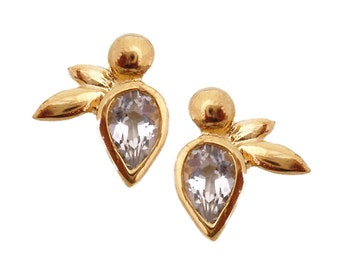 5x7mm Honey Bee White Topaz Vermeil Gold on Silver 10x11mm Earrings Original Design by Viola So (sku MM-E1-WT)
