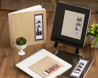 guest book and photo booth scrap book with natural wood cover 12x12