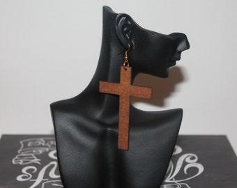 Wooden Earrings - Cross