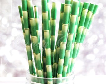 GREEN BAMBOO STRAW 25 Paper Straws,green bamboo pattern, tropical party, Wedding, Party, Birthday, Baby Shower Paper Straws