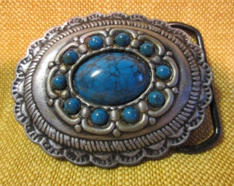 "2""x3"" belt buckle ,southwest, western, pewter and blue turquoise looking cabochons"