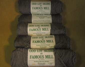 5 skeins grey 4 ply worsted wt knitting crochet yarn, 3 oz, by Famous Mills, made in USA