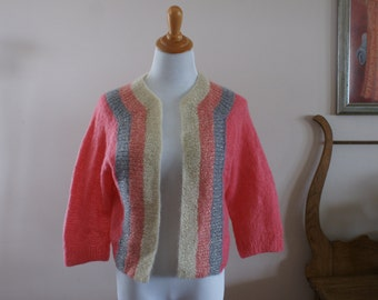 Vintage Pink Angora Handmade Knit Long Sleeve Sweater Cardigan with Gold Metallic, Ivory & Blue Stripe Size M-L M-706