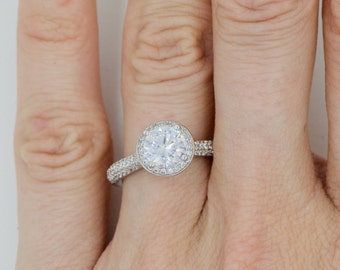 round cz engagement ring sterling silver halo wedding ring halo bridal rings high - Halo Wedding Ring