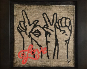 Love in Sign, Sign Language, Hand crafted, printed & framed. Unique Gift Wall Art