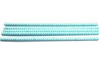 Blue Chevron Striped Paper Straws, Wedding, Birthday, Vintage Paper Straw