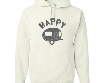Happy Camper Pullover Hoodie - Camping Pullover Sweatshirt - Happy Camper Camping Hooded Sweatshirt