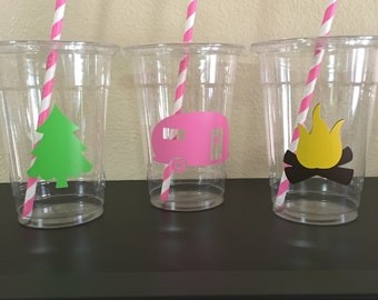 Glamping party cups, girls camping party cups