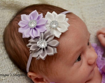 Satin cluster headband, Gray Lavender White satin headband,skinny elastic headband, newborn headband, take me home, baby headband