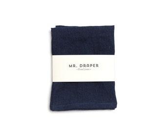 100% Linen Tea Towel in Midnight Blue