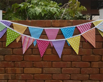 Bright Bunting. Double sided Fabric pink yellow blue green spots and strips garland bunting 3m with white trim