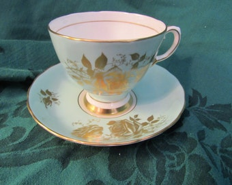 Bone China Gold Roses Cup and Saucer, Made in England