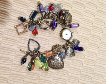 Antique Gold Hearts Charm Bracelet Watch