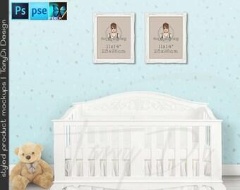 Nursery Interior #10 Set of 11x14 White Ornate Portrait & Landscape Frames Baby Crib, 4 Print Display Mockups, PNG PSD PSE, Custom colors