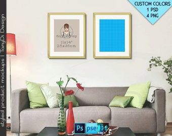 11x14 #R02 Set of 2 Fine Gold Portrait Frames on Interior wall, 4 Print Display Mockups, PNG PSD PSE, Opening 28x36cm, Custom colors