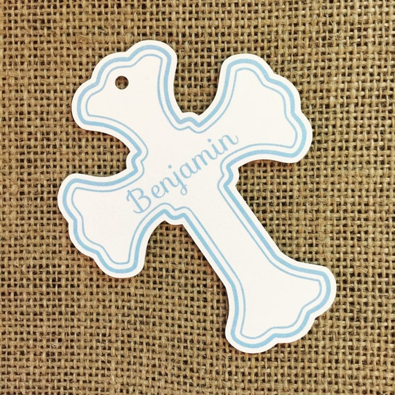 Favor or Gift Tags - Baptism Cross Tag Blue Large #200B - Quantity: 30 Tags