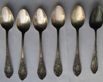 Vintage spoons of 6 pieces. Cupronickel. 1950-1960
